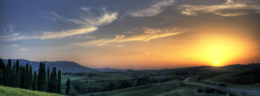 Sunset in Tuscany facebook cover