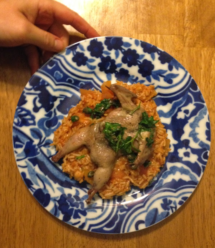 Plated Roasted Quail with Salsa Verde and Spanish Rice