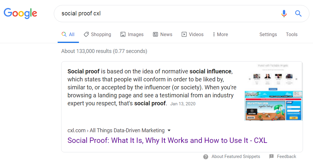 example of featured snippet with implicit site search.