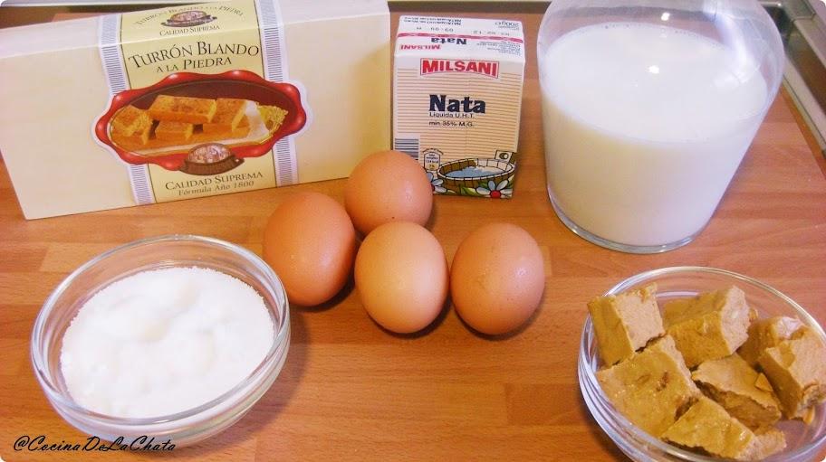 Ingredientes para el flan de turrón de Cocina de La Chata