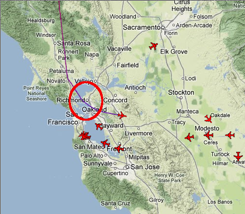 12 July 2012 - On http://planefinder.net N6GN noticed a FedEx flight, southbound on a path that took it about 8 miles east of Santa Rosa at about 13K feet. The plane took a turn to the east, starting about Petaluma on this path.