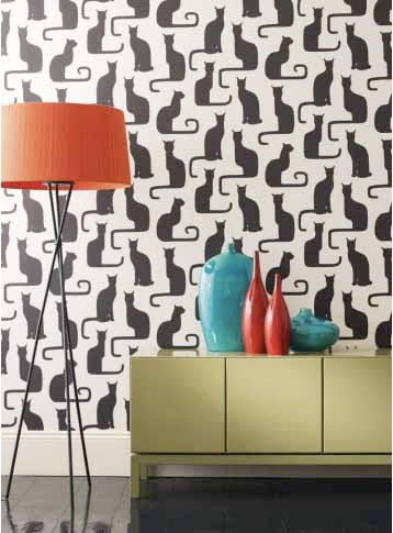The Omega Cats Wallpaper By Sanderson Was Adapted From A 1930s Textile Swedish Designer Victor Lindstrand And Comes In Ivory Black Shown