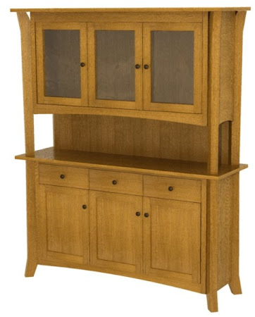 "84"" high x 68"" wide x 20"" deep Kyoto China Cabinet in   Medium Quarter Sawn Oak"