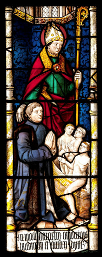 Madonna and Child window, c. 1890 by Tiffany Glass Company exhibited at Columbian World's Fair, Chicago 1893; St. Nicholas by Tiffany Glass