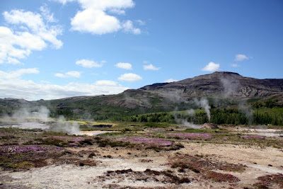 Steam vents near the Strokkur geyser on a tour of the Golden Circle in Iceland