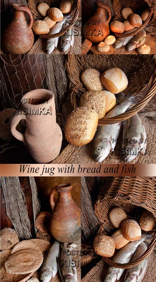 Stock Photo: Wine jug with bread and fish
