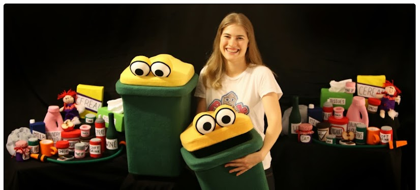 Puppet recycling bins