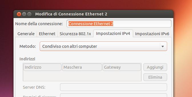 Configurazione per condividere la connessione internet via LAN in Ubuntu Linux