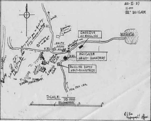 Mapa del teniente Bee. Se observan tropas españolas acompañando a las internacionales.