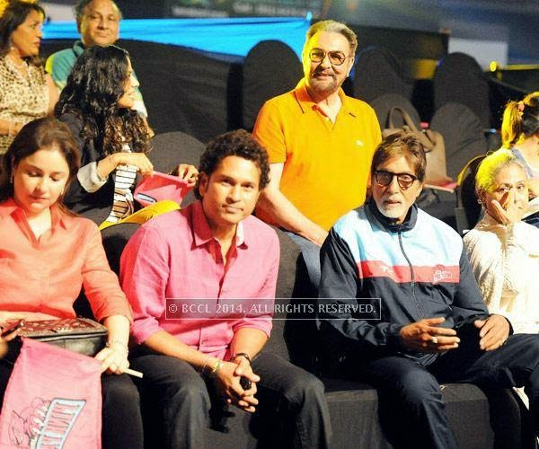 (L to R)Anjali Tendulkar, Sachin Tendulkar, Kabir Bedi (background), Amitabh Bachchan and Jaya Bachchan during the opening match of Pro-Kabbadi League, held in Mumbai, on July 26, 2014. (Pic: Viral Bhayani) <br />