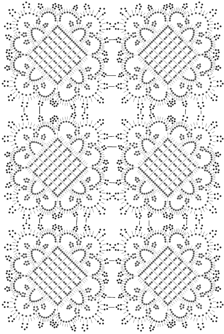 Вязание крючком прямоугольной салфетки. Схема присоединения мотивов.