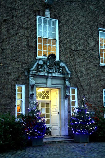 Christmas trees at Newnham College at Cambridge University