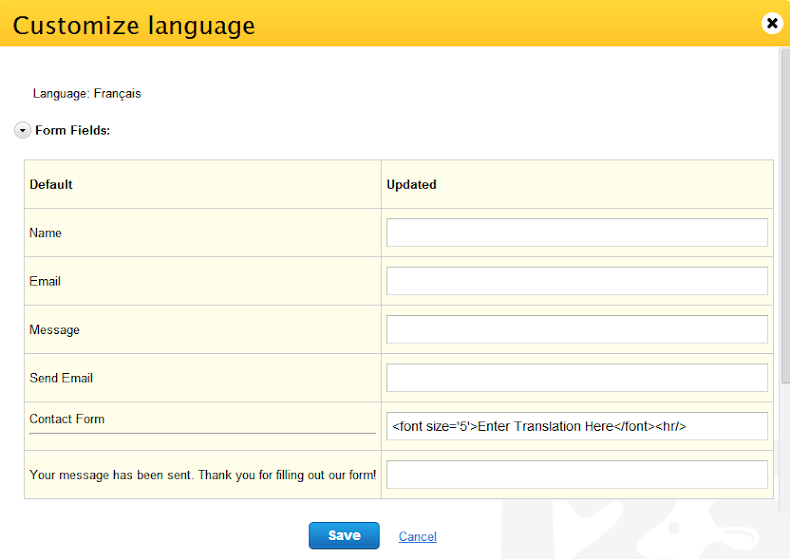 123Contactform customize language