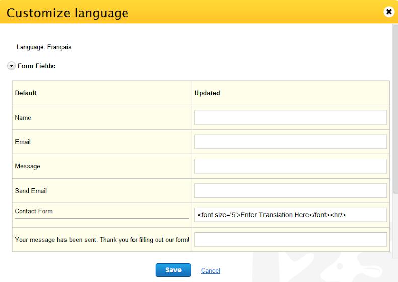 123Contactform customize language