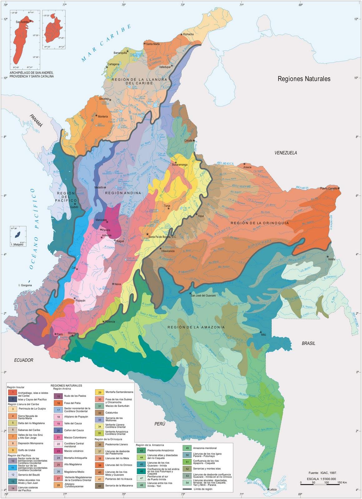 Mapa Hídrico y de las Regiones Naturales de Colombia