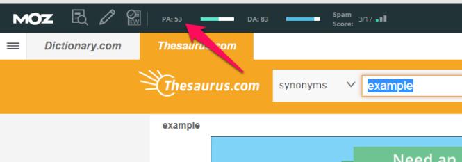 Mozbar Hiển thị các chỉ số khi bạn duyệt qua