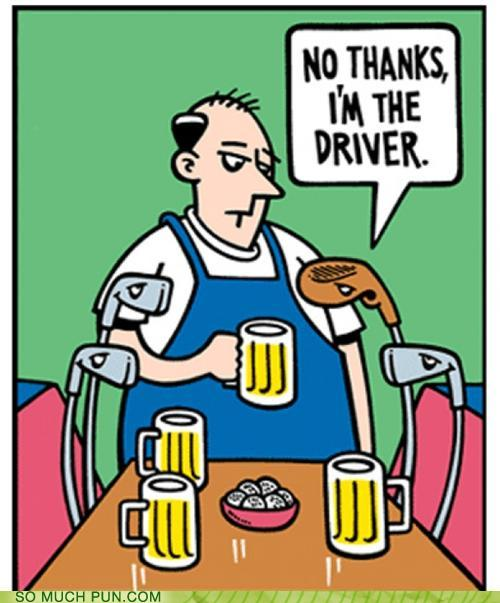 cartoon of golf clubs drinking and one says no thanks, I'm the driver