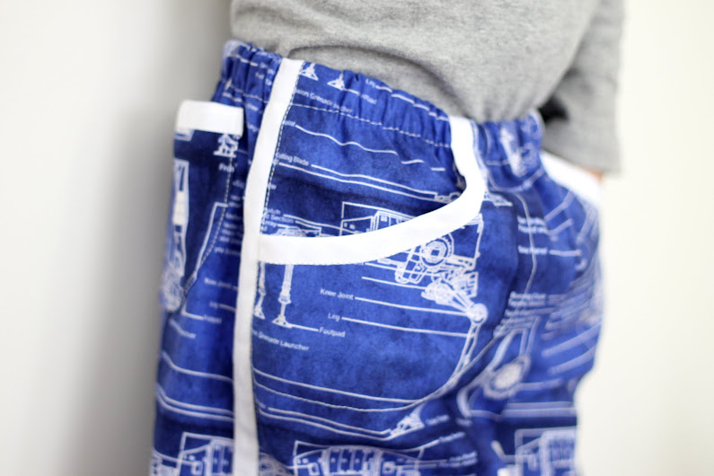 Use the Prefontaine Shorts pattern to make Track Pants for your kids. My son is in love with these!