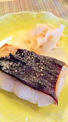 Midori's Broiled Sablefish and spicy Lotus root from Nodoguro August themed pop-up- Haruki Murakami 8/12/2014