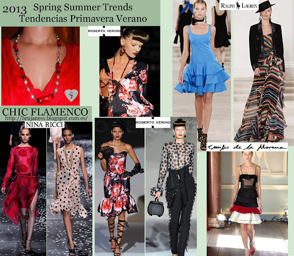 Chic Flamenco on Fashion shows Spring Summer 2013/ Tendencia Chic Flamenco en la pasarela Primavera verano 2013, Ralph Lauren, hat, sombrero, earrings, jacket, chaqueta, striped, a rallas, rallas, dress, vestido, blue, azul, long, necklace, collar, largo, earrings, pendientes, blusa, blouse, print, estampado, dots, puntos, topos, ruffles, volantes, red, rojo, nina ricci, roverto verino, emilio de la morena, Spanish, español