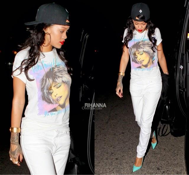 Rihanna in Whitney Houston Tee, Isabel Marant, Pigalle