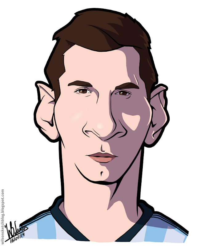 Cartoon caricature of Lionel Messi.