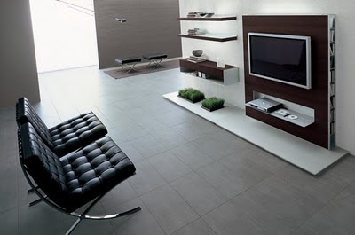 Moderno televisor enchapado en la pared decoracio nesdotcom for Muebles de sala modernos italianos