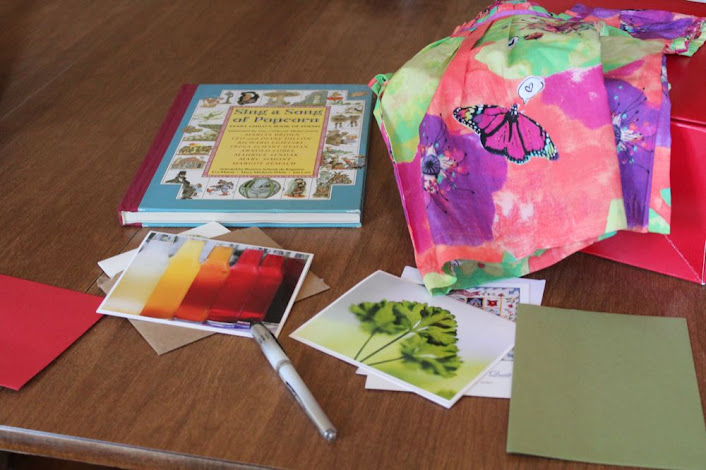 a book of poetry, a summer dress, and some greeting cards