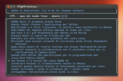 Canto Feed Reader su Ubuntu