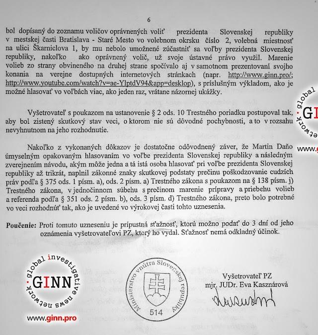 Obvinenenie NAKA, novinár Martin Daňo, strana 6