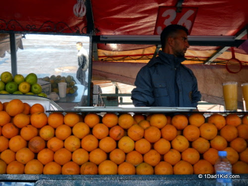 fresh orange juice at the market in Marrakech, photo courtesy of 1dad1kid