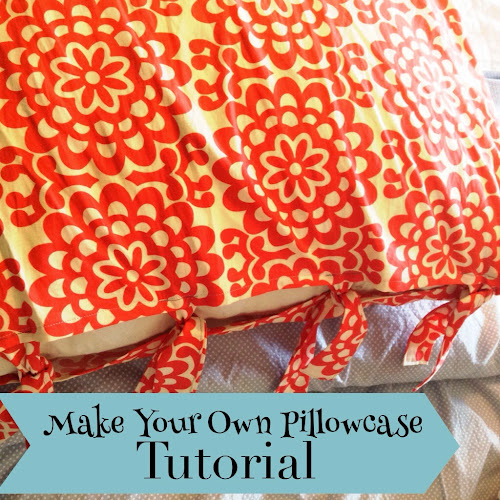 European pillow sham tutorial, make your own pillow case with tabs, red pillow case, Amy butler fabric