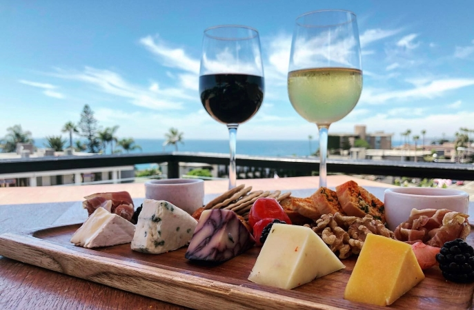 charcuterie board and wine at Mozambique in Laguna Beach