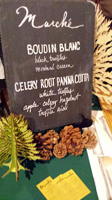 Stephanie Pearl Kimmel of Marche in Eugene celebrated truffles with Boudin Blanc with black truffles and mustard cream and a Celery Root Panna Cotta with white truffles and a apple celery hazelnut salad and trufle aioli for the Walk on the Wild Side, Oregon Truffle Festival 2015