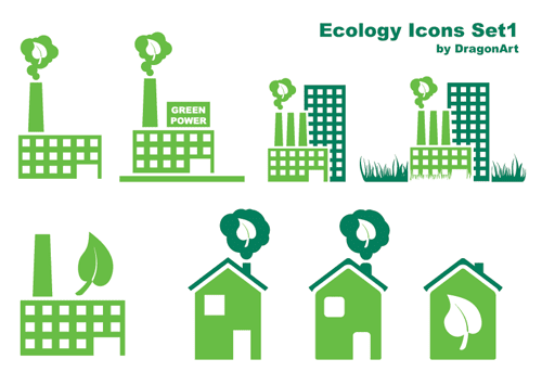 22 Free Ecology Vector Icons Set Graphics