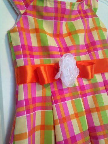 Easter dress, sewing, new look pattern, orange pink green Easter dress