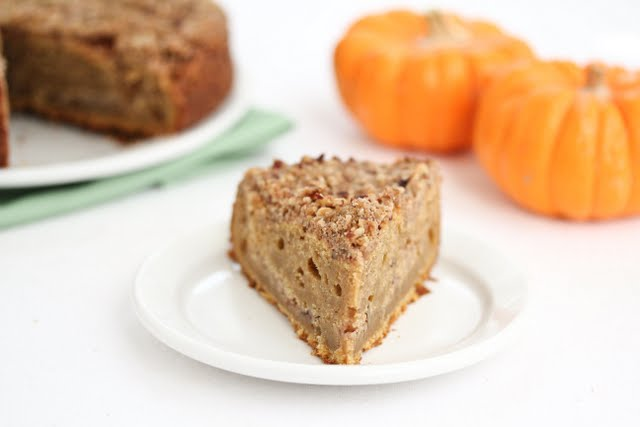 photo of a slice of pumpkin coffee cake