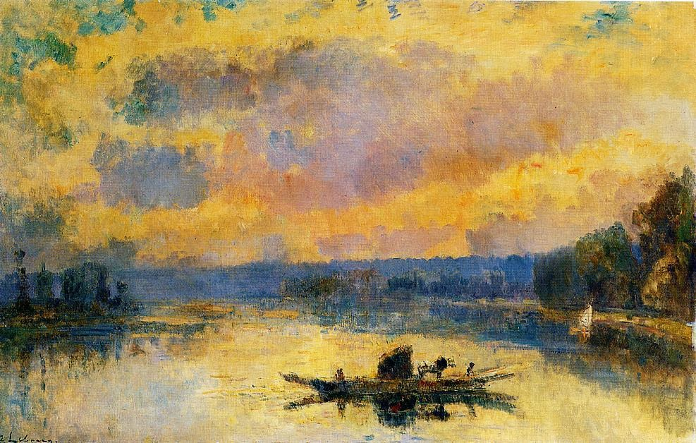 Albert Lebourg - The Ferry at Bouille, Sunset.