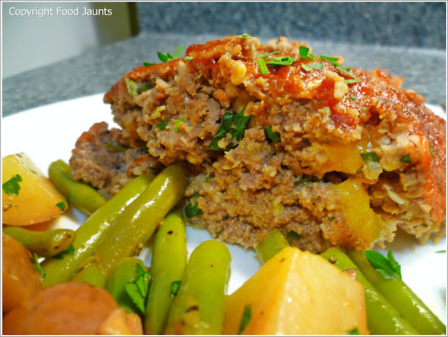 Cheddar Studded Meatloaf with Warm Green Bean and Potato Salad