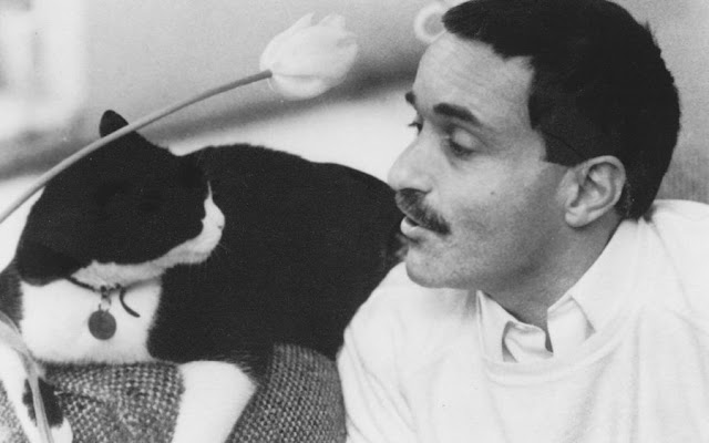 Yves Navarre and a cat