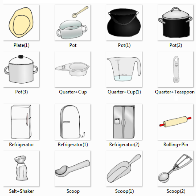 nice Kitchen Appliances Names #7: Plate, Pot, Quarter Cup, Quarter Teaspoon, Refrigerator, Rolling Pin, Salt  Shaker, Scoop