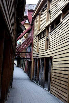 Narrow alleys in Bryggen in Bergen Norway