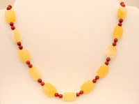 "Joy- Yellow Jade and Poppy Jasper, dream stones, promote harmony & balance, 17""   $35"