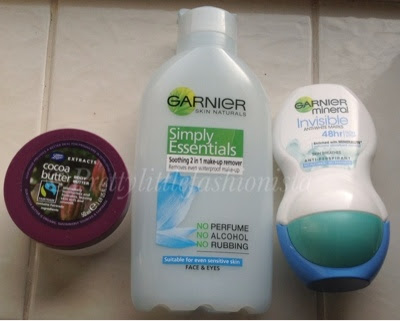 Boots extracts cocoa body butter, Garnier makeup remover and deodrant