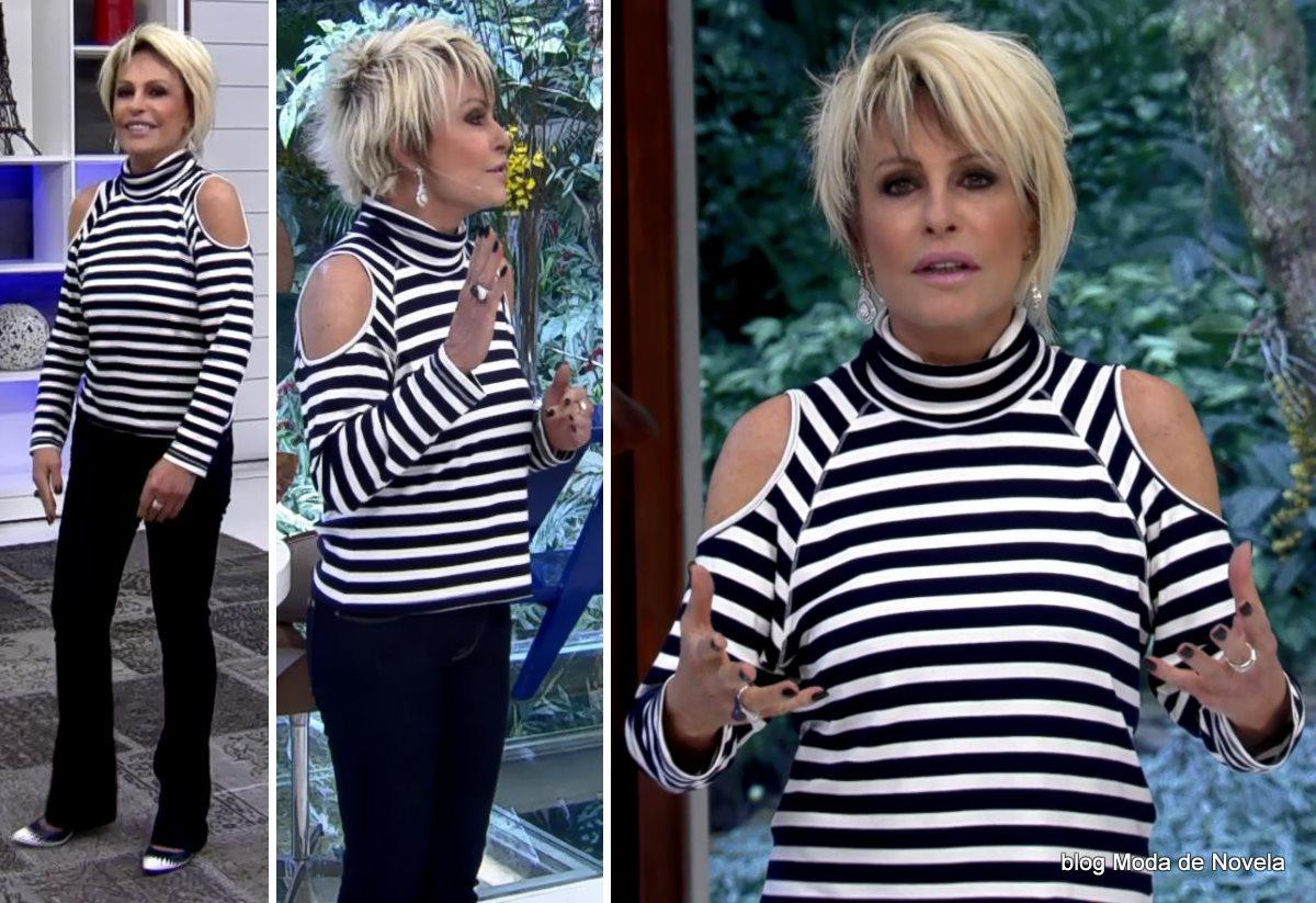 moda do programa Mais Você - look P&B da Ana Maria Braga dia 29 de agosto