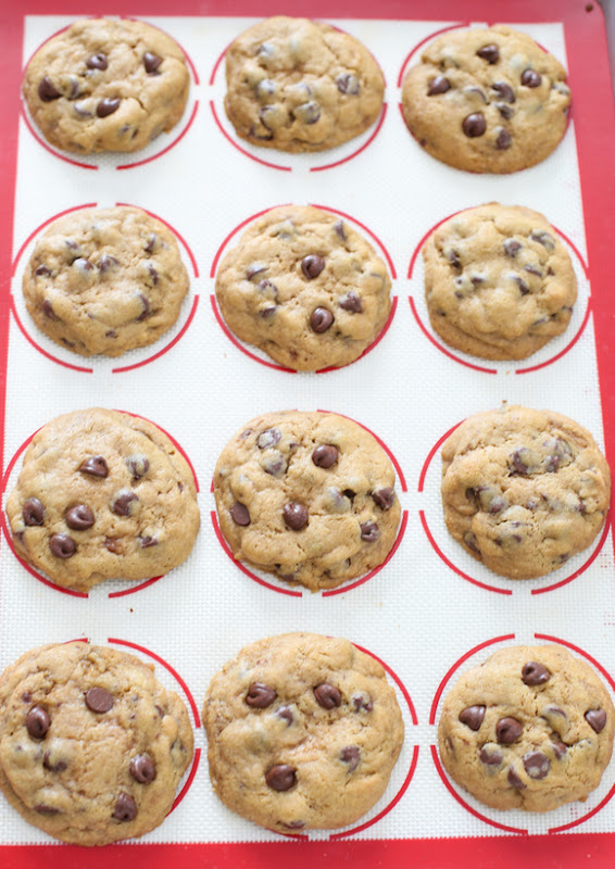 overhead photo of chocolate chip cookies on a silpat