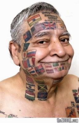 International Flags Tattoo Face