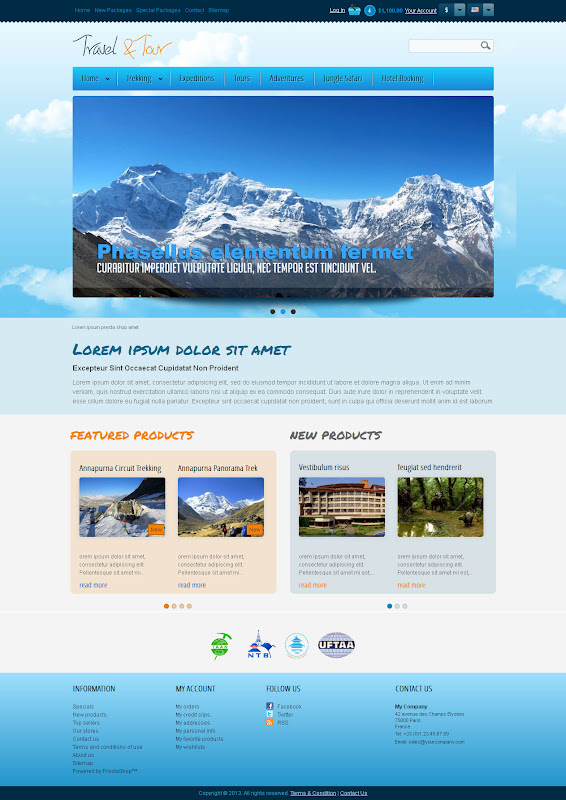 Travel and Tour Template Home Page