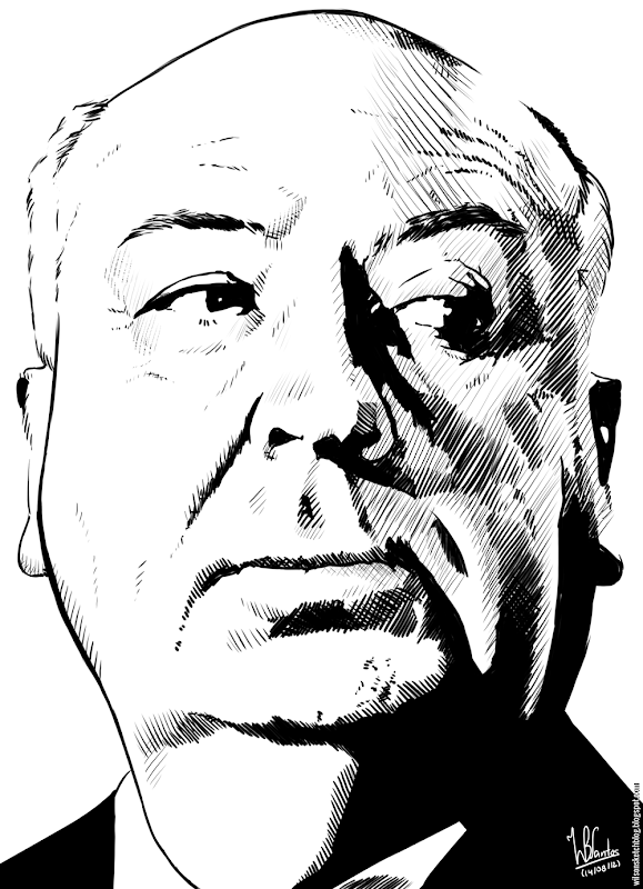 Ink drawing of Alfred Hitchcock, using Krita 2.4.