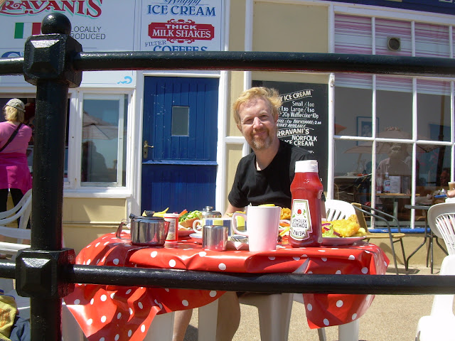 Fred enjoying his fish & chips at Cromer
